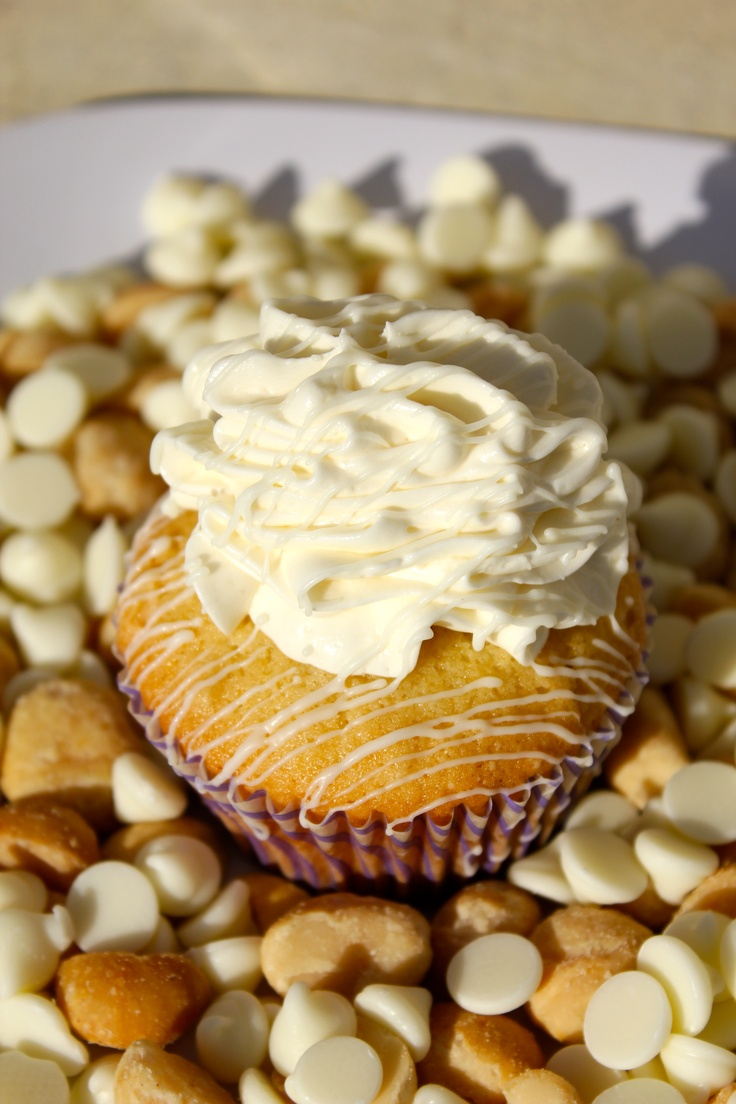 Macadamia Nut White Chocolate Cupcakes