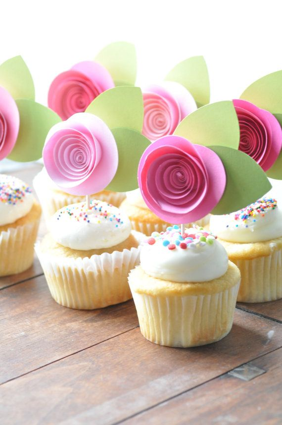 Paper Flower Cupcake Toppers Cupcakes Gallery