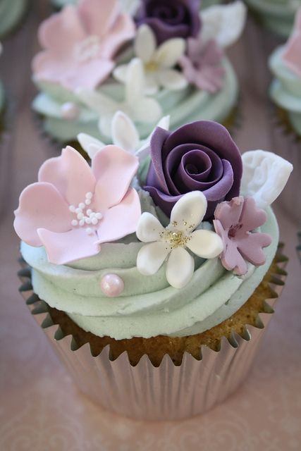 Pastel Flowers Cupcake Toppers