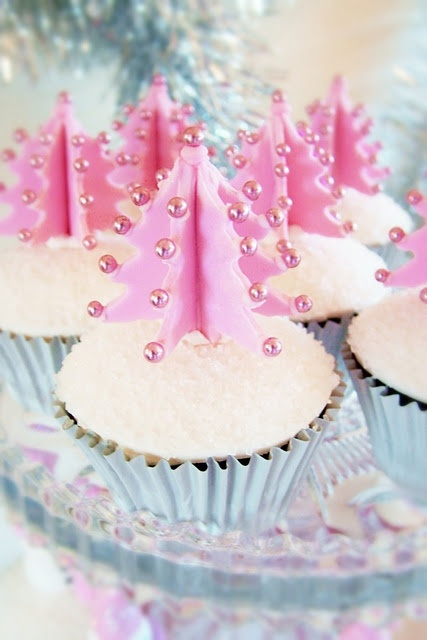 Pink Christmas Tree Cupcake Toppers