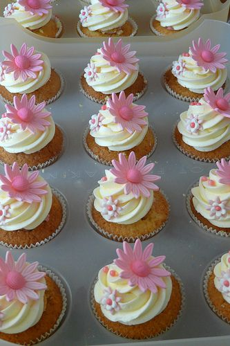 Pink Flower Cupcake Toppers