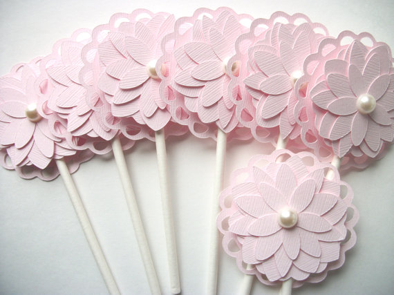 Pink Flower Party Cupcake aToppers