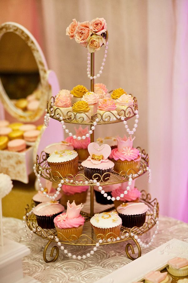 Pink and Gold Pearl Cupcakes