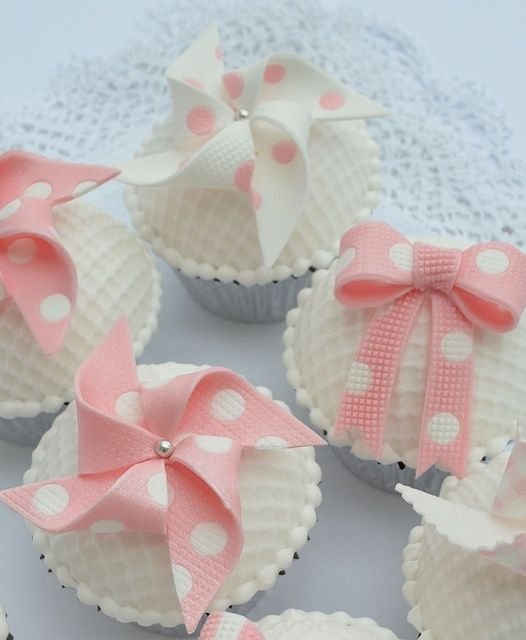 Pink and White Bow Cupcakes