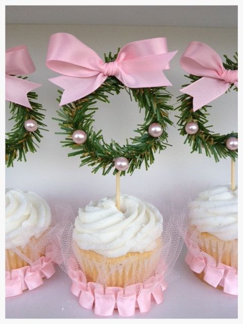 Pretty Christmas Cupcake Toppers