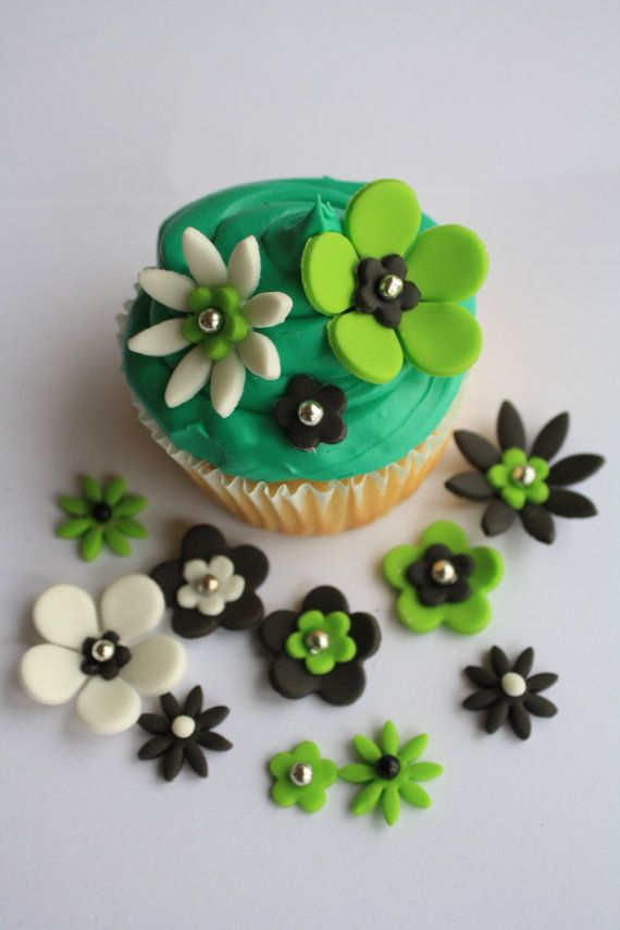 Pretty Green Flower Cupcake Toppers
