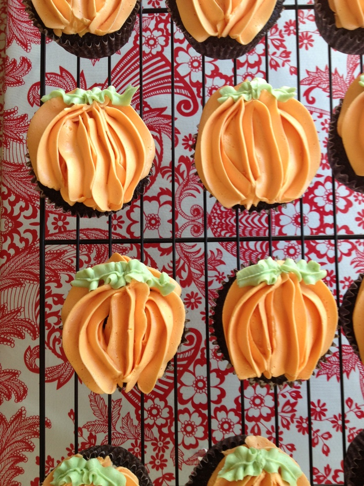 Pumpkin Topped Chocolate Cupcakes