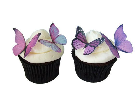 Purple Butterfly Topped Cupcakes