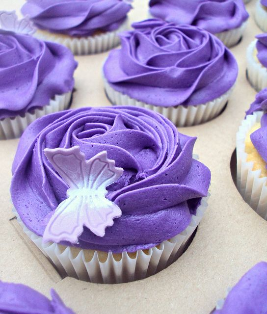 Purple Cupcakes with Butterfly