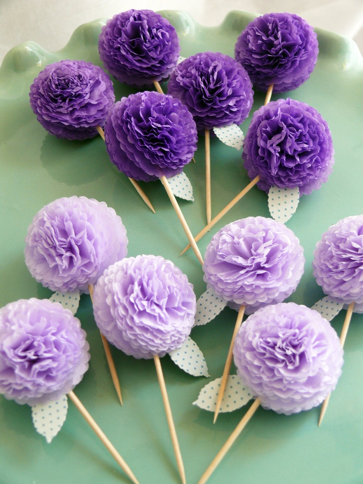 Purple Flower Cupcake Toppers
