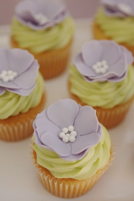 Purple Flower Topped Cupcakes