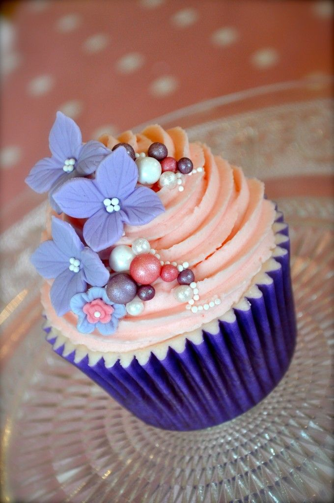 Purple Flower and Pearl Cupcakes