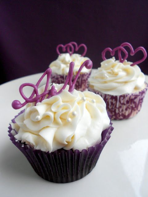 Purple Heart Cupcakes