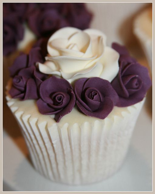 Purple Rose Wedding Cupcakes