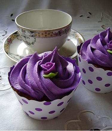 Purple Tea Party Cupcakes