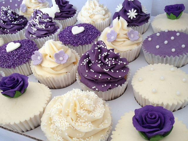 Purple and Cream Wedding Cupcakes
