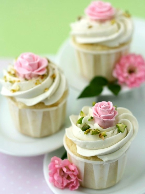 Rose Flavored White Cupcakes