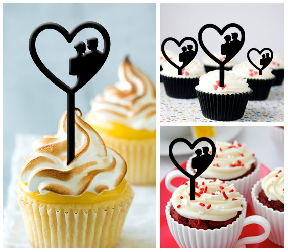 15 creative wedding cupcake toppers silhouette wedding cupcake topper junglespirit Images