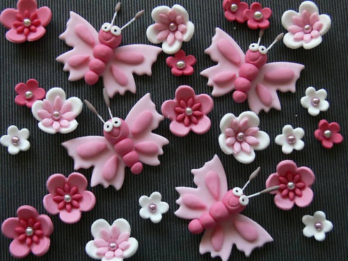 So Cute White and Pink Flower Cupcake Toppers
