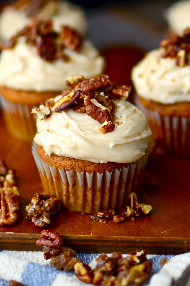 Sugared Pecan Sprinkled Pumpkin Cupcakes
