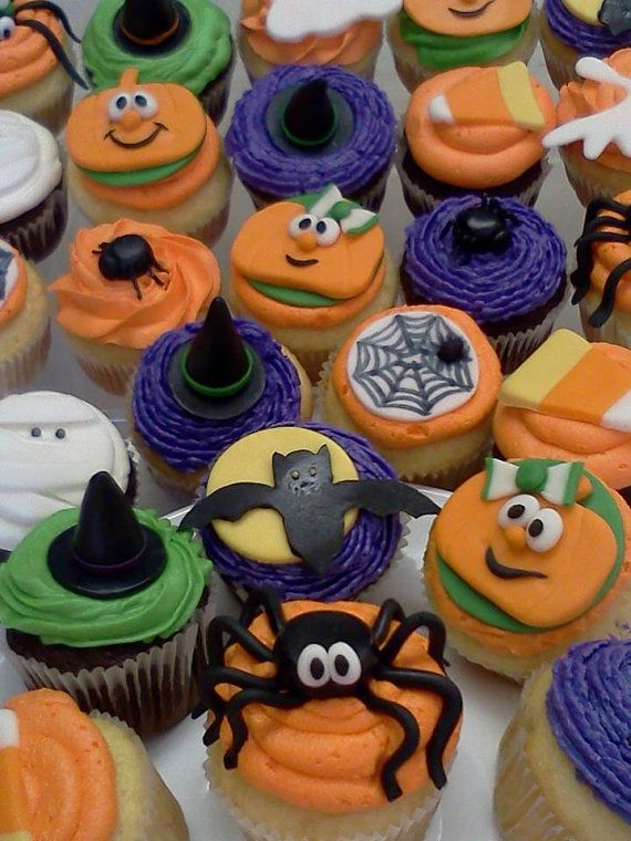 sweet edible fondant halloween cupcake toppers - Cupcake Decorations For Halloween