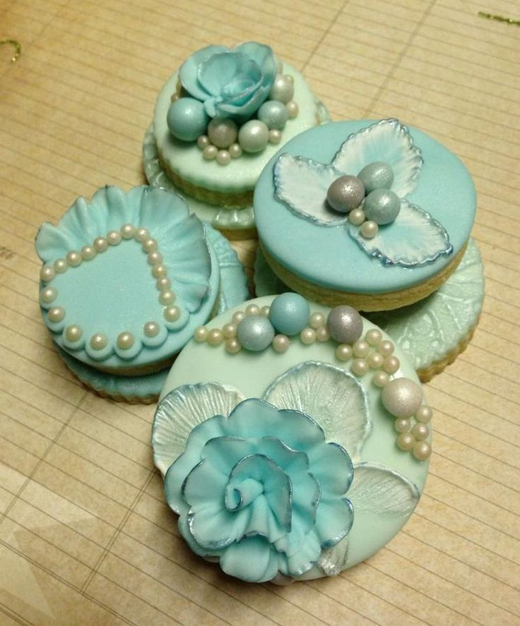 Tiffany Blue Pearl Cupcakes