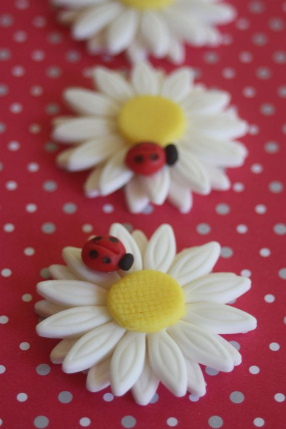 White Flower and Ladybug Cupcake Toppers
