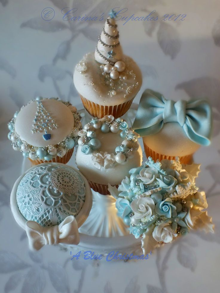 Classy Blue Christmas Cupcakes