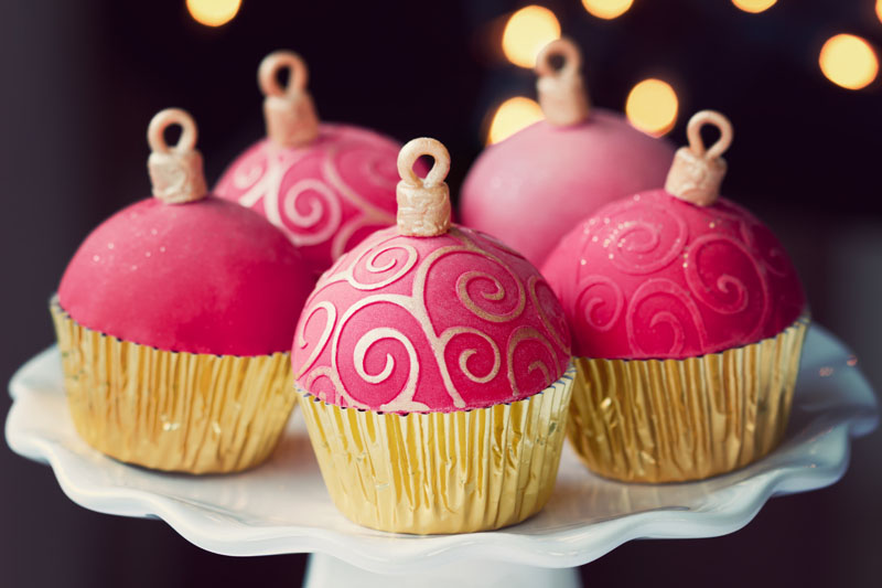 Pink Christmas Ornament Cupcakes