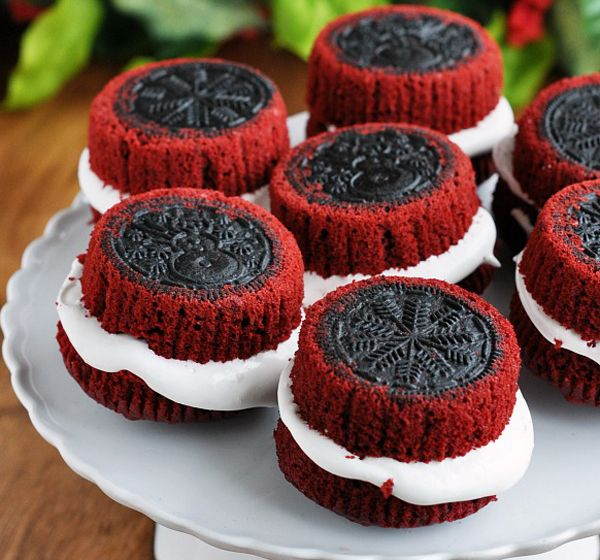 center filled red velvet oreo cupcakes
