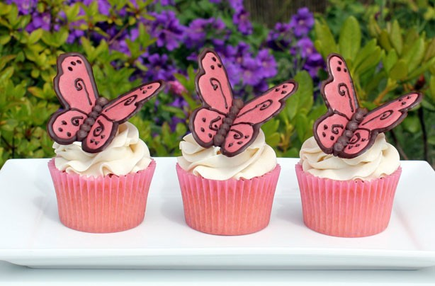 Intricate Pink Butterfly Cupcakes