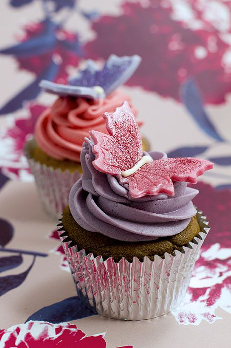 Purple And Pink Butterfly Cupcakes