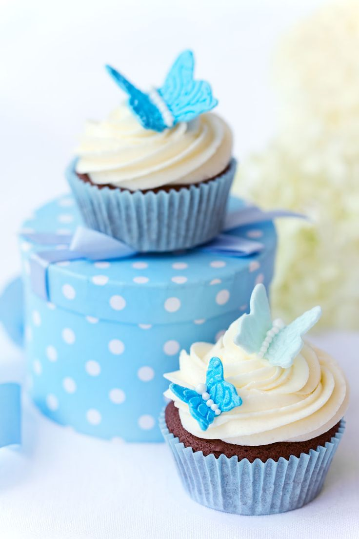 Stunning Blue Butterfly Cupcakes