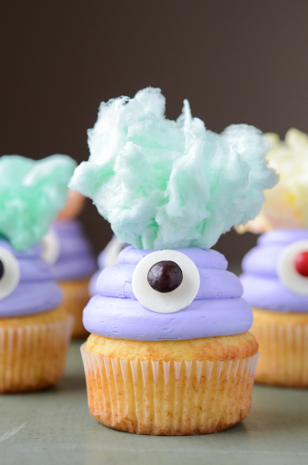 Cotton Monster Cupcakes