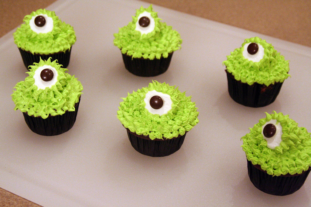 Green One-Eyed Monster Cupcakes