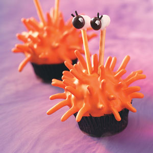 Spiky Orange Monster Cupcake