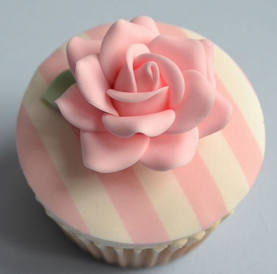 Striped Rose Cupcake