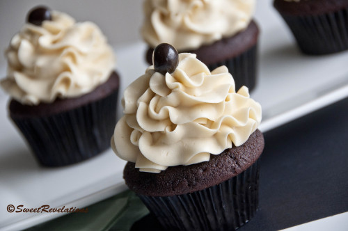 Mocha Cupcakes with Bailey's Swiss Meringue Buttercream Frosting