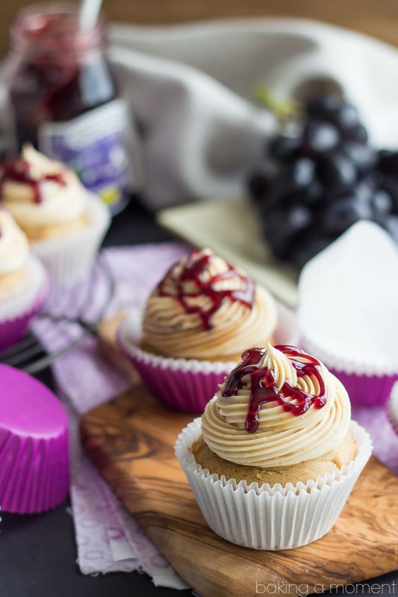 Peanut Butter And Jelly Cupcakes with Swiss Meringue Buttercream Frosting