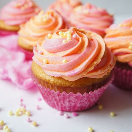 Orange Soda Cotton Candy Cupcakes