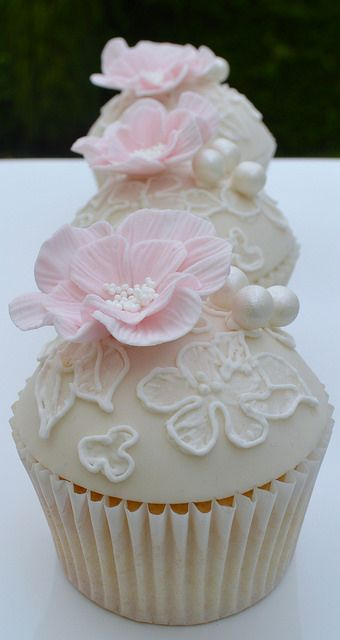 Embroided Flower On Lace Cupcakes