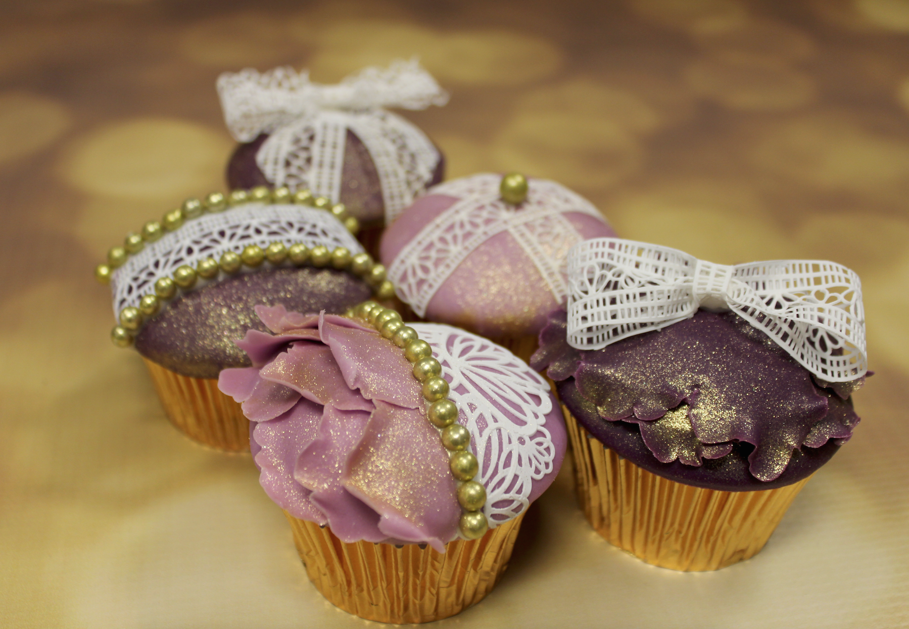 Golden Pearl And Lace Cupcakes