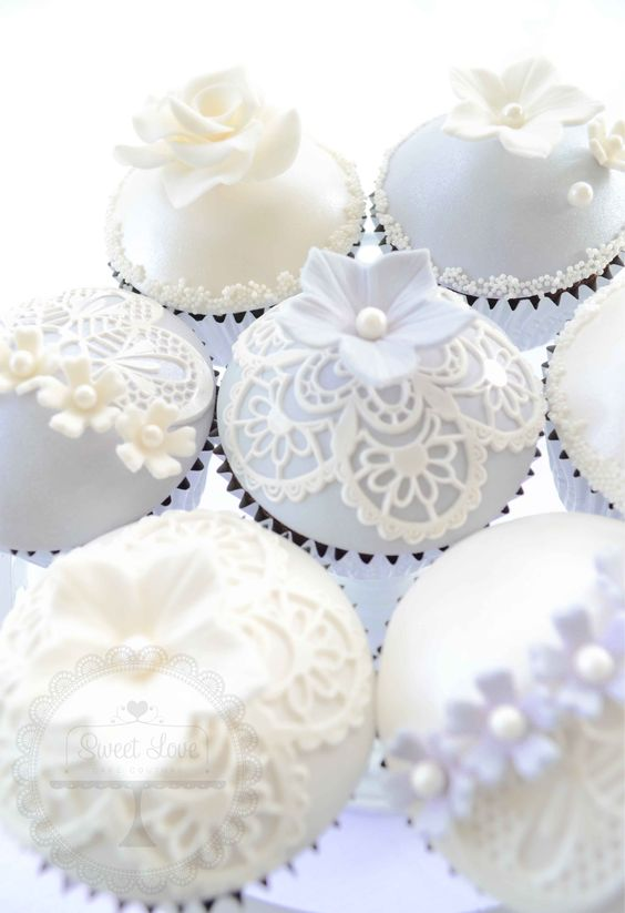 Lovely White Lace Cupcakes