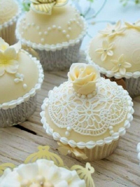 Meticulous Yellow Rose And Lace Cupcake