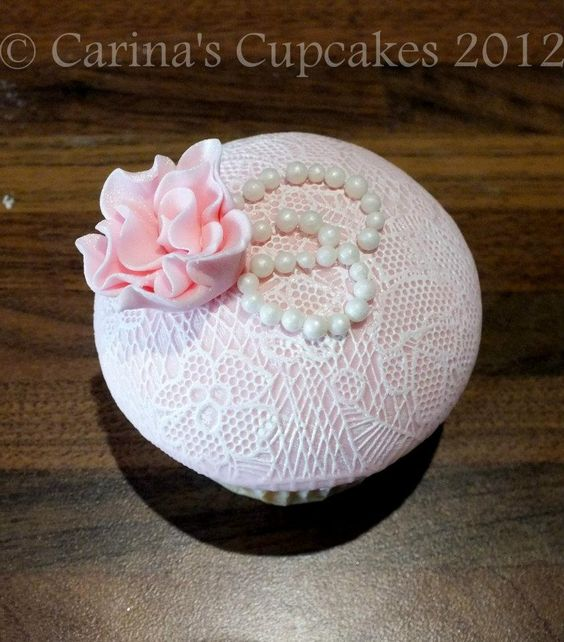 Peony, Pearl And Lace Cupcake