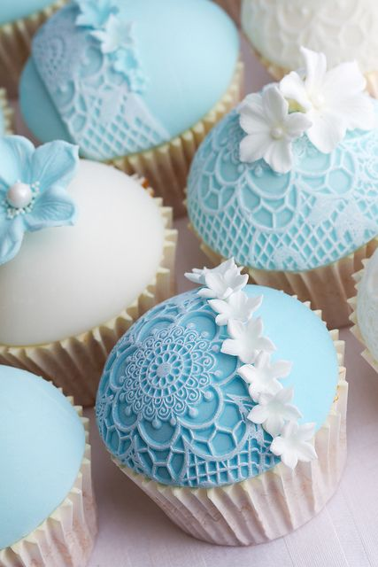 Tiffany Blue Lace Cupcakes