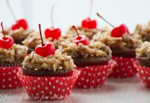 German Chocolate Cupcakes With Cherry On Top