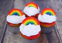 Intricate Rainbow Topped Cupcakes