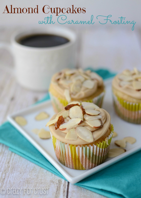 Almond Cupcakes With Caramel Frosting