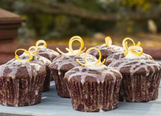 Dark Chocolate Olive Oil Cupcakes with Lemon Custard Buttercream and Lemon Glaze